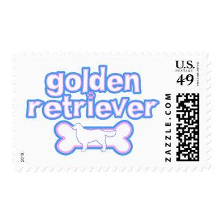 Pink & Blue Golden Retriever Postage Stamps