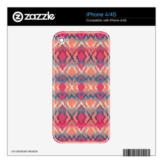 Pink Blue Gradient Geo Tribal Ikat Diamond Pattern Decals For The iPhone 4S