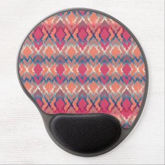 Pink Blue Gradient Geo Tribal Ikat Diamond Pattern Gel Mouse Pad
