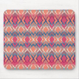 Pink Blue Gradient Geo Tribal Ikat Diamond Pattern Mouse Pad
