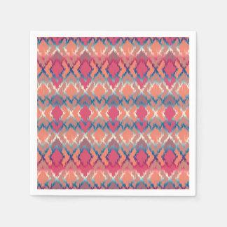 Pink Blue Gradient Geo Tribal Ikat Diamond Pattern Paper Napkin