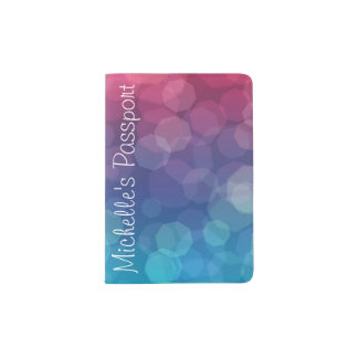 Pink/Blue gradient light bubbles passport holder