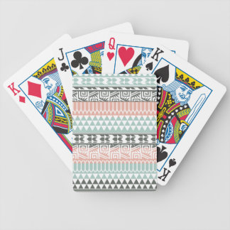 Pink Blue Gray Abstract Aztec Tribal Print Pattern Bicycle Playing Cards