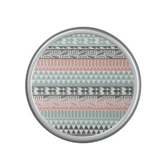 Pink Blue Gray Abstract Aztec Tribal Print Pattern Bluetooth Speaker