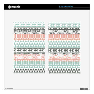 Pink Blue Gray Abstract Aztec Tribal Print Pattern Kindle Fire Decals