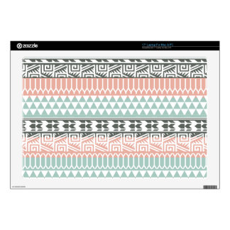 Pink Blue Gray Abstract Aztec Tribal Print Pattern Laptop Skins