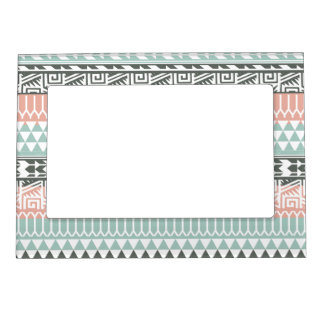 Pink Blue Gray Abstract Aztec Tribal Print Pattern Magnetic Photo Frame