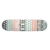Pink Blue Gray Abstract Aztec Tribal Print Pattern Skateboard Deck