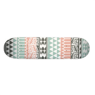 Pink Blue Gray Abstract Aztec Tribal Print Pattern Skateboard Deck at Zazzle