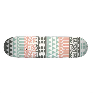 Pink Blue Gray Abstract Aztec Tribal Print Pattern Skateboard Deck