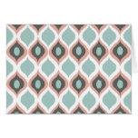 Pink Blue Gray Geometric Ikat Tribal Print Pattern Greeting Cards