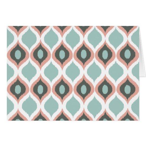 Pink Blue Gray Geometric Ikat Tribal Print Pattern Card ...