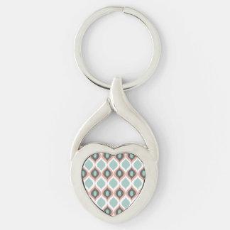 Pink Blue Gray Geometric Ikat Tribal Print Pattern Keychain