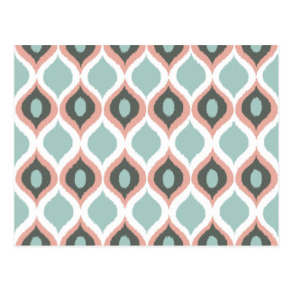 Pink Blue Gray Geometric Ikat Tribal Print Pattern Postcard