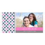 Pink Blue Gray Save the Date Wedding Photo Cards