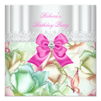 Pink Blue Green Floral Lace Birthday Party Card