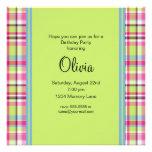 Pink Blue & Green Plaid Birthday Party Invitation