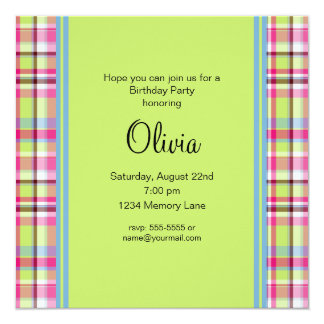 Pink Blue & Green Plaid Birthday Party Invitation