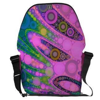 Pink Blue Green Swirly Abstract Courier Bag