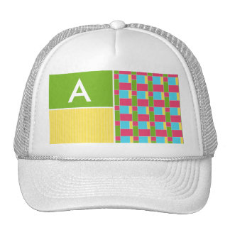 Pink, Blue, Green, & Yellow Rectangles Hat