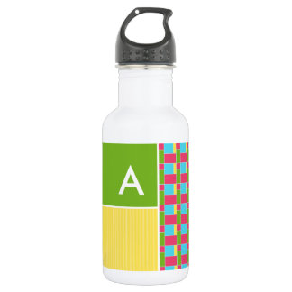 Pink, Blue, Green, & Yellow Rectangles Water Bottle