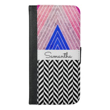 font themed Pink, Blue, Grey Color Design with Black Name - iPhone 6/6s Plus Wallet Case