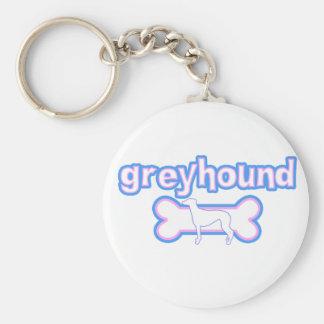 Pink & Blue Greyhound Keychain