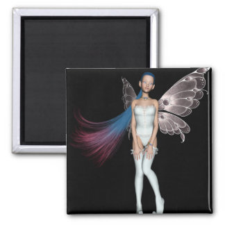 Pink & Blue Hair Pixie In White 2 Inch Square Magnet