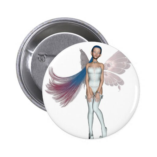Pink & Blue Hair Pixie In White Button