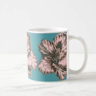 Pink Blue Hibiscus Flower Illustration Coffee Mug