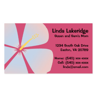 Pink / Blue Hibiscus Flowers Mommy Contact Card Double-Sided Standard Business Cards (Pack Of 100)