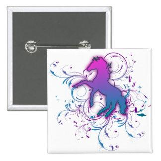 Pink/Blue Horse Pinback Button