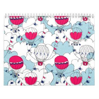 Pink & Blue Hot Air Balloon Doodle Sketch Pattern Calendar