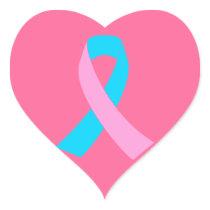 Pink & Blue - Infertility Awareness Ribbon Heart Sticker
