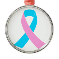 Pink & Blue - Infertility Awareness Ribbon Metal Ornament
