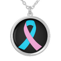 Pink & Blue - Infertility Awareness Ribbon Silver Plated Necklace