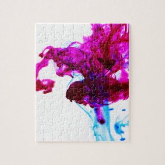 Pink Blue Ink Drop Macro Photography Jigsaw Puzzle