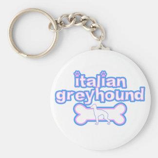 Pink & Blue Italian Greyhound Keychain