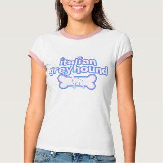 Pink & Blue Italian Greyhound Ladies Ringer TShirt