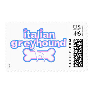 Pink Blue Italian Greyhound Postage Stamps