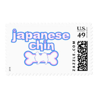 Pink & Blue Japanese Chin Postage Stamps