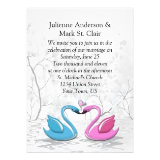 Pink Blue Kissing Swans Wedding Invitation