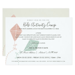 Fun yoga invitations announcements zazzle pink blue kite kids activity class invite template stopboris Image collections