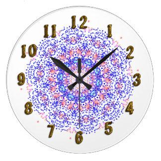 Pink Blue Lacy Pattern Pretty Wall Clock