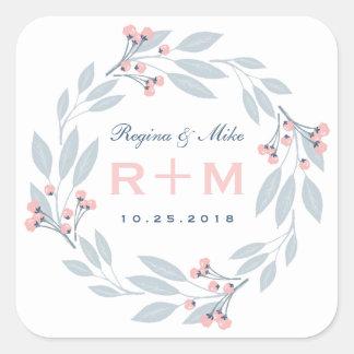 Pink Blue Leaf Floral Wreath Wedding Favor Sticker