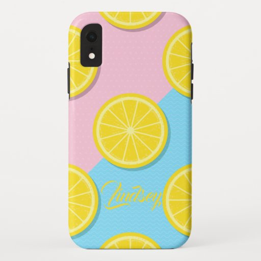 Pink & Blue Lemon Pattern Phone Case
