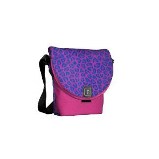 Pink & Blue Leopard Print Messenger Bag