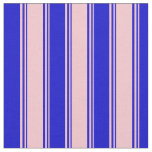 [ Thumbnail: Pink & Blue Lined Pattern Fabric ]