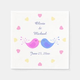 Pink Blue Love Birds Bridal Shower Standard Cocktail Napkin