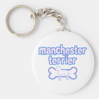 Pink & Blue Manchester Terrier Keychain